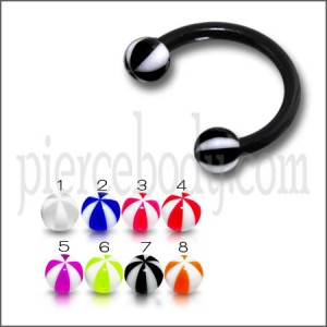 Flexible Acrylic Circular Barbell UV Ball Eyebrow Ear Lip Ring Body Jewelry