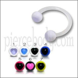 White UV Horseshoes Circular Barbell with UV Balls