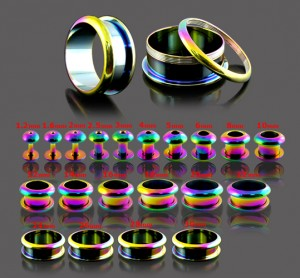 Rainbow Screw Fit Ear Flesh Tunnel