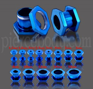 Hexagon Dark Blue Ear Flesh Tunnel