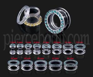 UV Transparent Multi CZ Stones Ear Flesh Tunnel with Screw