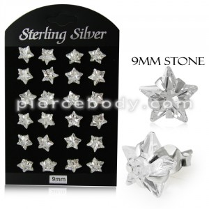 9MM CZ Star Ear Stud in 12 pair Tray