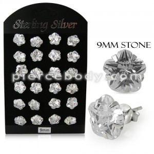 9MM CZ Flower Ear Stud in 12 pair Tray