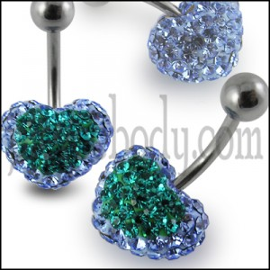 Mix Color Crystal stone Heart Curved Barbell Navel Belly Ring