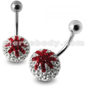 Red And White Crystal stone Studded Star Jeweled SS Curved Belly Ring
