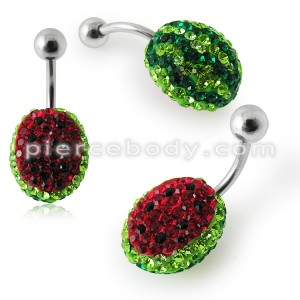 Watermelon Crystal stone Belly Ring