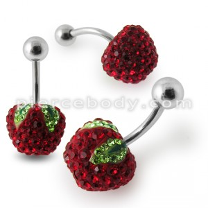 Red Apple Crystal stone Belly Ring