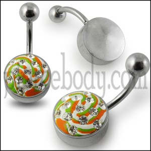 Multi Color painted Crystal belly Rings with Steel Base