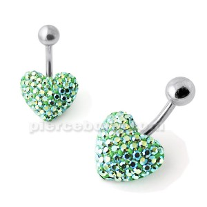 Green Glitter Crystal Stone Heart Belly Ring With SS Bar