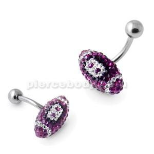 Purple Crystal Rugby Ball Navel Ring