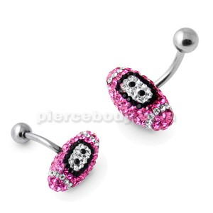 Pink Crystal Rugby Ball Navel Ring