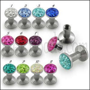 SS Screw Fit Crystal Ear Flesh Tunnel