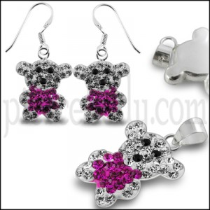Crystal stone Studded Teddy bear earring Jewelry Set