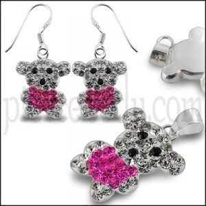Pink And White Crystal stone  Teddy Bear Earring Pendant Jewelry Set