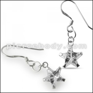 Sterling Silver Star CZ Earring