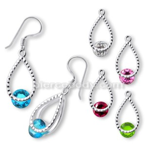 Fancy Jeweled Silver Oval Shape Earring