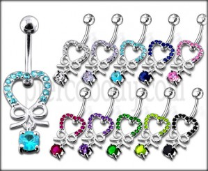 925 Sterling Silver Jeweled Fancy Dangling SS Curved Bar Belly Ring