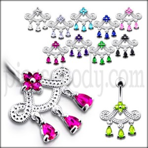 Fancy Crown Pink Jeweled Dangling Navel Ring Body Jewlelry
