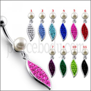 Fancy Angle Single Wing Jeweled Dangling Belly Ring