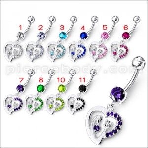Fancy Single Jeweled Heart Dangling Belly Ring