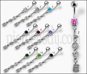Fancy Love Logo Jeweled Dangling Banana Bar Belly Ring