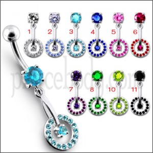 Fancy Jeweled Bike Wheel Dangling banana Navel Ring