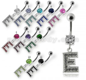 "Alphabet ""E"" Jeweled Dangling Belly Ring"