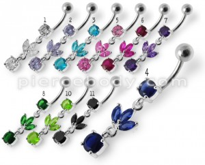 Silver Fancy Leaf Design Purple Jeweled Dangling Belly Ring