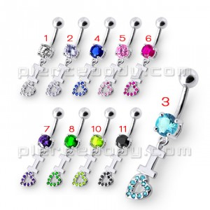 Fancy Loveing Heart Jeweled Silver Dangling With SS Bar Belly Ring