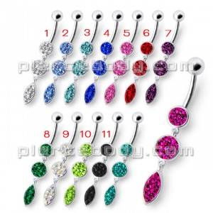 Fancy Pressure Setting Pink Jeweled Dangling Belly Ring