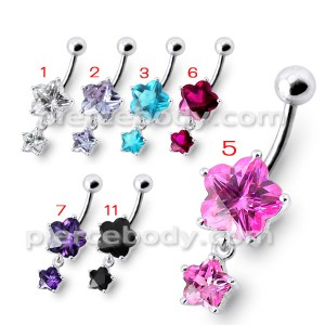 Fancy High Quality Pink Stone Flower Silver Dangling With SS Bar Belly Ring