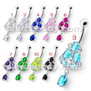 925 Silver Fancy Blue Jeweled Dangling Navel Ring Body Jewelry