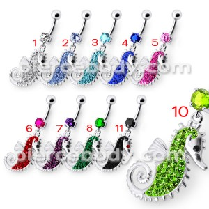 Multi Jeweled Sea Horse Dangling Belly Ring