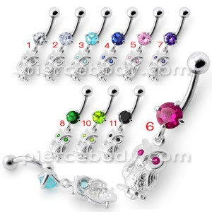 Jeweled Owl Navel Ring