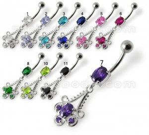 Fancy Blue Stone Jeweled Dangling 316L SS Bar Belly Ring