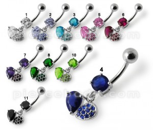 Fancy Design Blue Stone Jeweled Dangling SS Bar Belly Button Ring