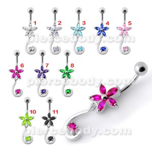 Fancy Jeweled Star Tail Dangling Belly Ring