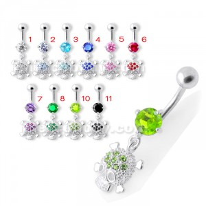 Jeweled Skull Navel Belly Ring