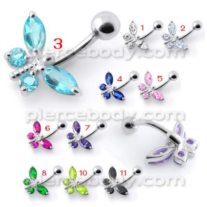 Dragonfly Silver Belly Ring