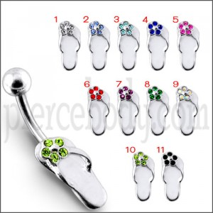 """Fancy Jeweled Silver """"Slipper """" Design SS Bar Belly Ring"""