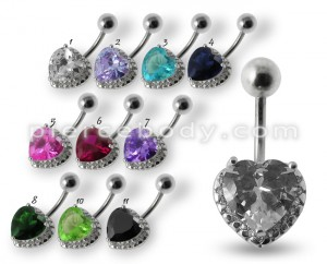 Fancy Heart Jeweled Silver Belly Bar