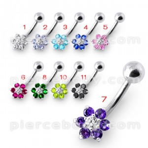 14 Gauge Fancy Jeweled Flower Silver Banana Belly Ring