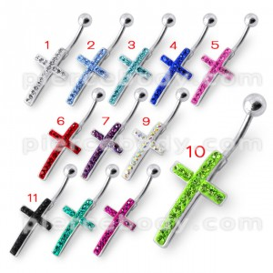 Fancy Jeweled Cross Silver Belly Ring