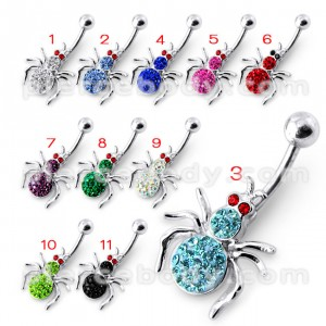 Multi Jeweled Spider Silver Belly Ring