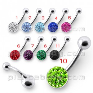 Fancy Multi Gems Silver Curved Bar Navel Ring