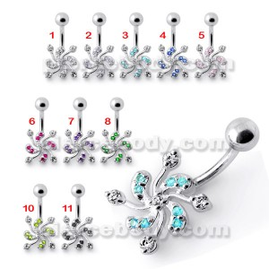 Jeweled Swril Silver Belly Ring