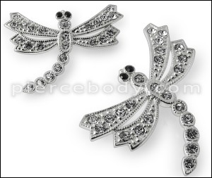 925 Sterling Silver Jeweled Dragon Fly Pendant