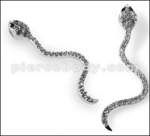 925 Sterling Silver Jeweled Snake Pendant