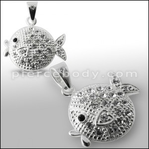 925 Sterling Silver Jeweled Fish Pendant
