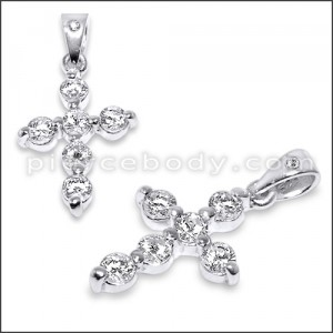 Sterling Silver Jeweled Methodist Cross Pendant Cubic Zirconia Stones
